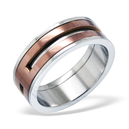 Surgical Steel & Rose Gold Ring