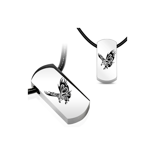 Stainless Steel and Black Leatherette Eagle Tag Necklace