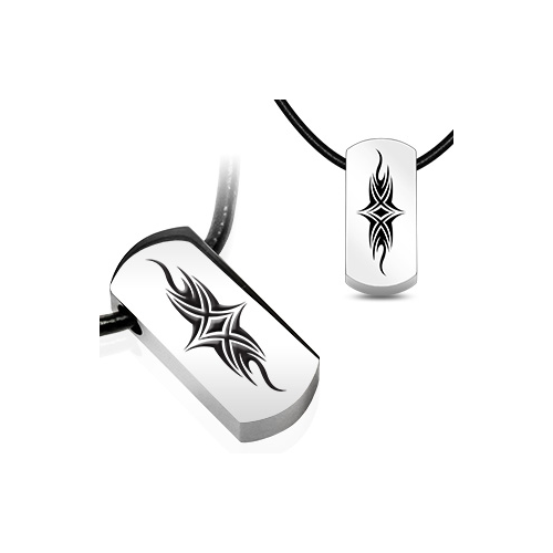 Stainless Steel and Leatherette Tribal Shield Tag Necklace