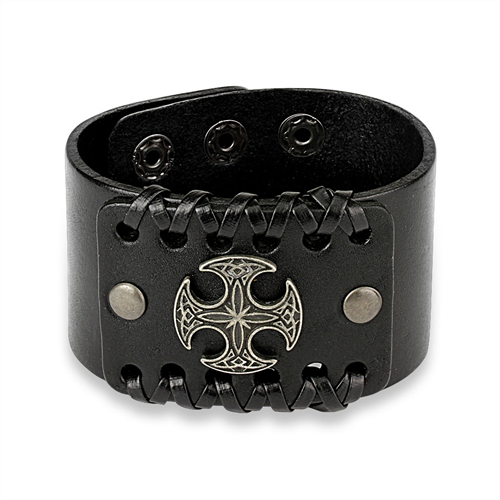 Leather and Brass Celtic Cross Cuff