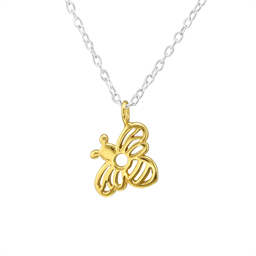 Sterling Silver Gold Plated Bee Necklace