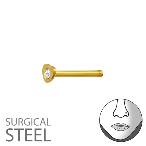 Surgical Steel Gold Plated Heart Nose Stud